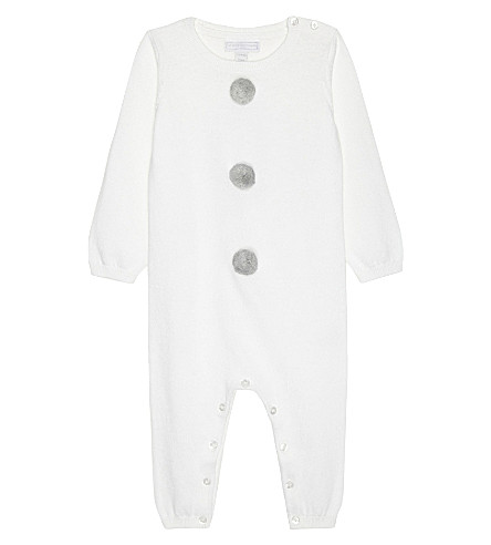THE LITTLE WHITE COMPANY Snowman knitted cotton baby-grow newborn-24 months (White