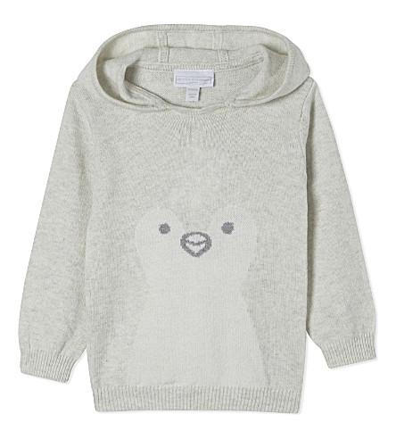 THE LITTLE WHITE COMPANY Snowy Penguin knitted cotton hoody Newborn-24 months (Ecru