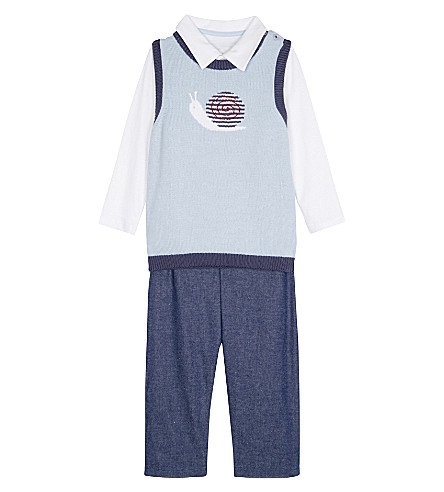 THE LITTLE WHITE COMPANY Polo, tank top & trousers cotton set 0-24 months (Multi
