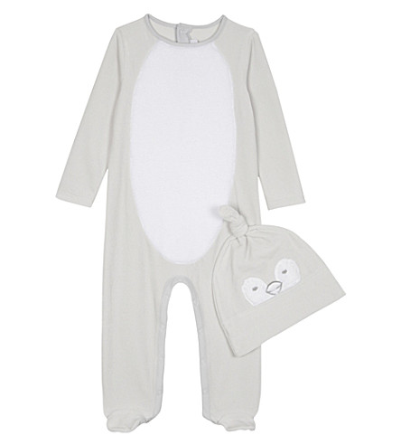 THE LITTLE WHITE COMPANY 雪 sleepsuit 和帽子套装 0-24 月 (灰色