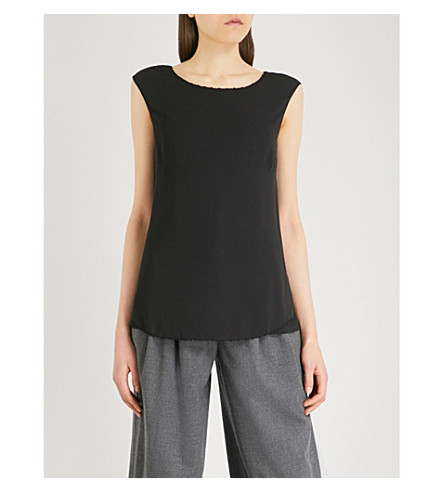 THE WHITE COMPANY Beaded edge overlayer top (Black