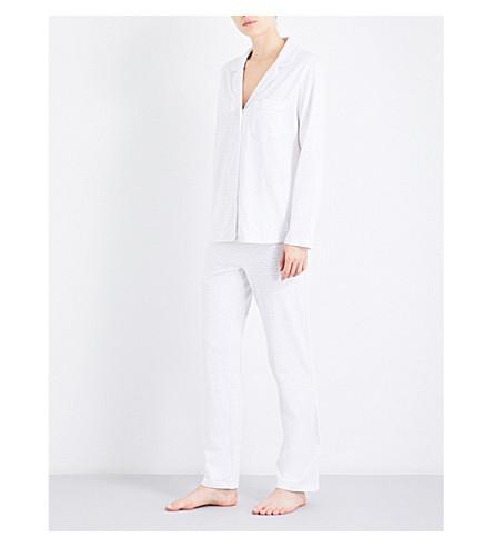 THE WHITE COMPANY Polka-dot stretch-cotton pyjama set (White/grey