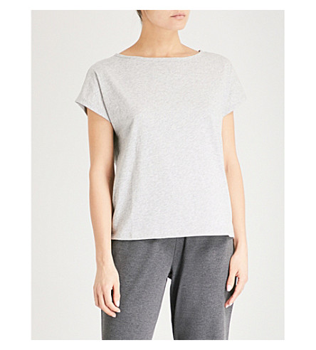 THE WHITE COMPANY Slouchy cotton T-shirt (Pale+grey+marl