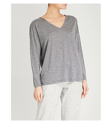 THE WHITE COMPANY V-neck jersey top (Mid+grey+marl