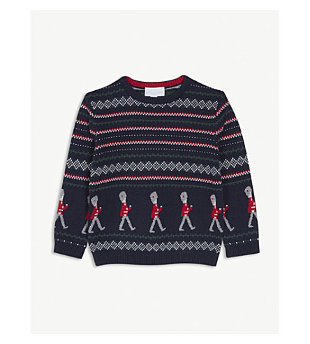 THE LITTLE WHITE COMPANY Soldier Fair Isle knitted cotton-blend jumper 2-6 years (Navy
