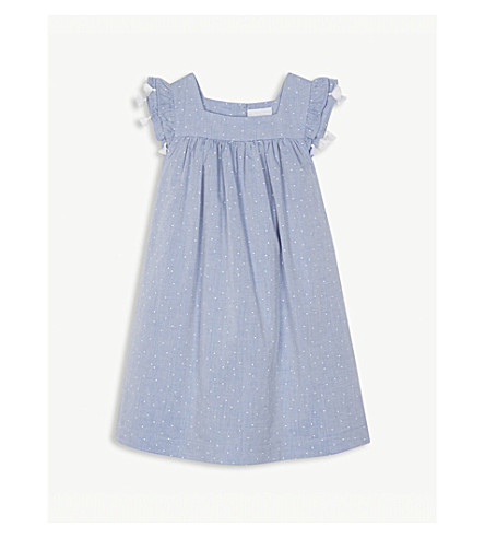 THE LITTLE WHITE COMPANY Tasselled polka-dot cotton dress 1-6 years (Chambray