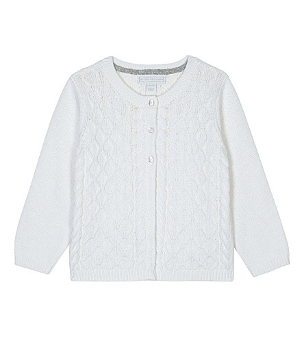 THE LITTLE WHITE COMPANY Cable-knit cotton-wool blend cardigan 0-24 months (White