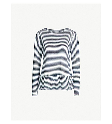 THE WHITE COMPANY Frilled-hem striped linen top (White/navy