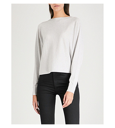 THE WHITE COMPANY Split-back metallic knitted jumper (Pale+grey+marl