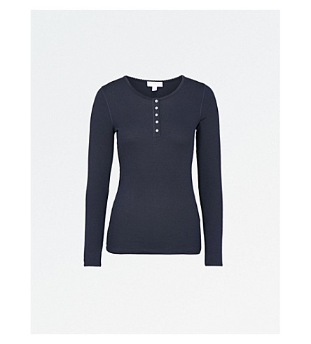 THE WHITE COMPANY Henley knitted pyjama top (Navy