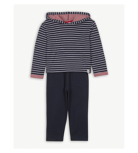 THE LITTLE WHITE COMPANY Striped hoody and jogging bottoms cotton set 1-6 years (Silvergreymarl