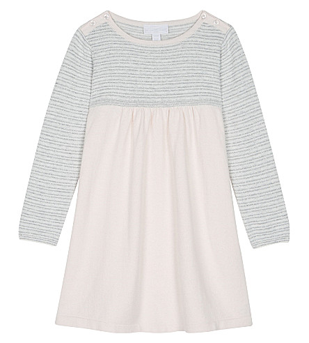 THE LITTLE WHITE COMPANY Sparkle stripe cotton dress 1-6 years (Pink