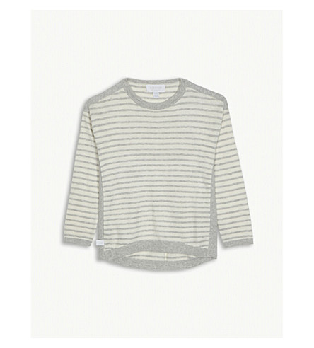 THE LITTLE WHITE COMPANY Striped knitted cotton-blend jumper 5-12 years (Winter+white