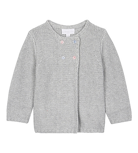 THE LITTLE WHITE COMPANY Sparkle stitch cotton-blend cardigan 0-24 months (Silvergreymarl