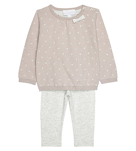 THE LITTLE WHITE COMPANY Spotty cotton jumper and leggings set 0-24 months (Multi