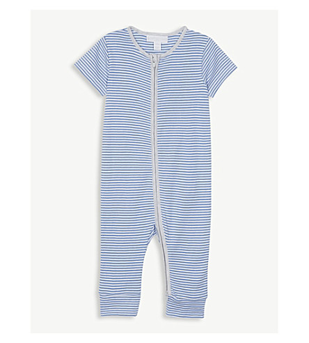 THE LITTLE WHITE COMPANY Stripe print zip cotton sleepsuit 0-24 months (Blue