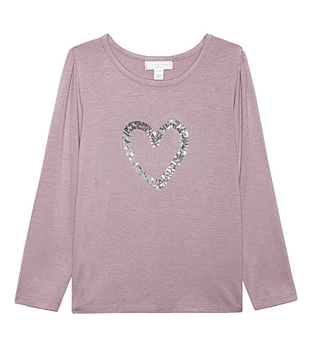 THE LITTLE WHITE COMPANY Sequin heart long-sleeved top 1-6 years (Lilac