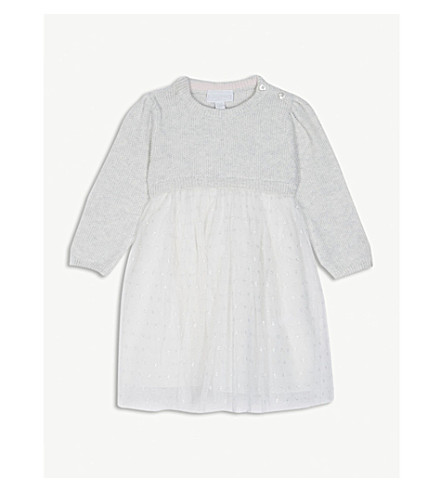 THE LITTLE WHITE COMPANY Knitted glitter mesh dress 1-6 years (Grey