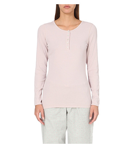 THE WHITE COMPANY Scallop-trimmed jersey pyjama top (Dusty+pink