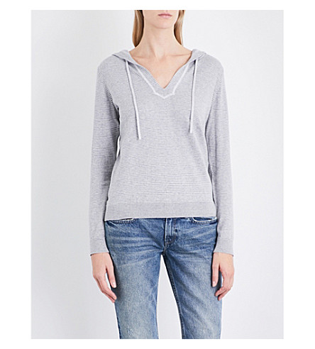 THE WHITE COMPANY Striped cotton and cashmere-blend hoody (Grey+stripe