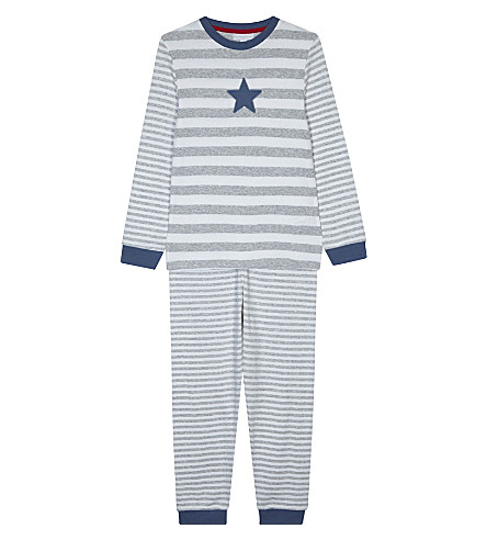 THE LITTLE WHITE COMPANY Striped cotton pyjamas 7-12 years (Grey+marl