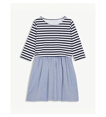 THE LITTLE WHITE COMPANY Stripe chambray dress 1-6 years (Chambray