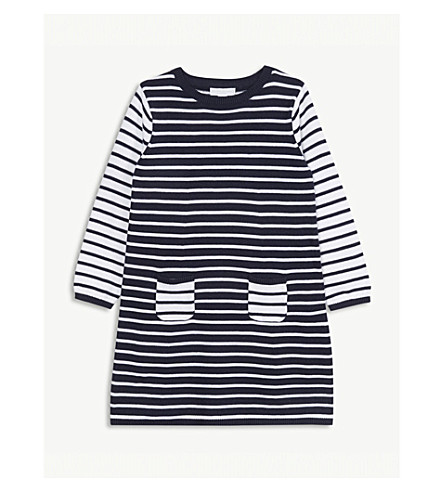 THE LITTLE WHITE COMPANY Striped knitted cotton dress 1-6 years (Multi