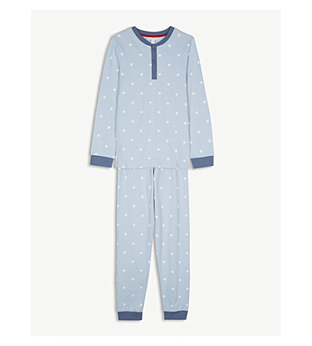 THE LITTLE WHITE COMPANY Star print cotton pyjamas 7-12 years (Blue