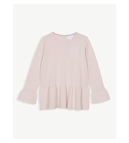 THE LITTLE WHITE COMPANY Peplum knitted cotton jumper 1-6 years (Chalk+pink