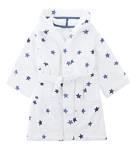 THE LITTLE WHITE COMPANY Star print hooded cotton dressing gown 1-6 years (Multi