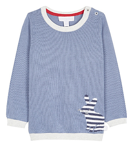 THE LITTLE WHITE COMPANY Bunny knitted cotton jumper 0-24 months (Blue