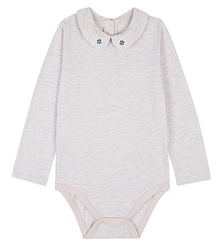 THE LITTLE WHITE COMPANY Embroidered cotton baby-grow 0-24 months (Multi