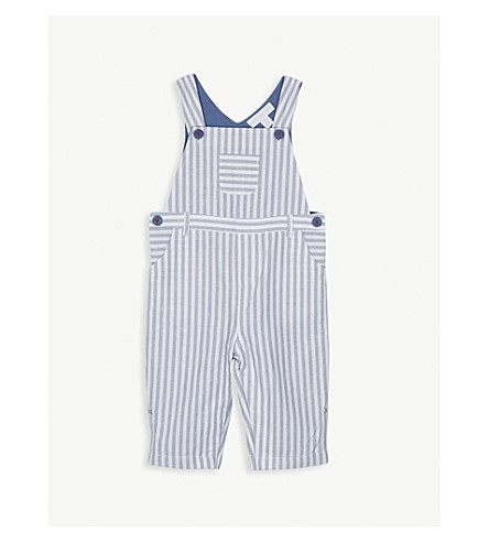 THE LITTLE WHITE COMPANY Striped woven cotton dungarees 0-24 months (Multi