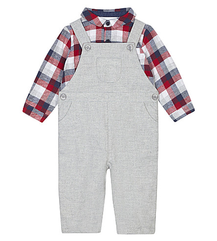 THE LITTLE WHITE COMPANY Cotton shirt and dungaree set 0-24 months (Grey+marl