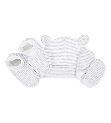 THE LITTLE WHITE COMPANY Striped cotton hat, mitts & booties set Newborn-12 months (White/grey