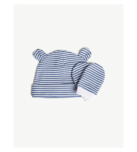 THE LITTLE WHITE COMPANY Stripe cotton hat and mittens set 0-12 months (Blue