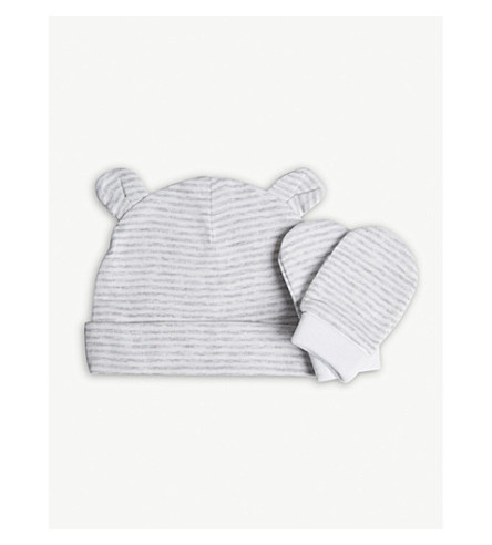 THE LITTLE WHITE COMPANY Stripe cotton hat and mittens set 0-12 months (Grey/white