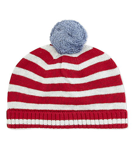 THE LITTLE WHITE COMPANY Striped cotton bobble beanie 6-12 months (Ecru