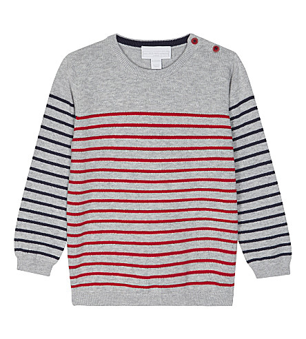 THE LITTLE WHITE COMPANY Striped cotton jumper 0-24 months (Silvergreymarl