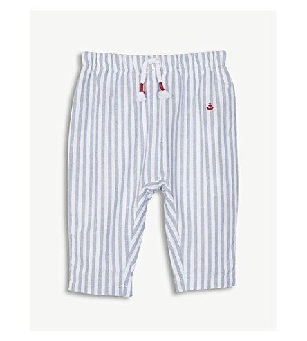 THE LITTLE WHITE COMPANY Stripe cotton trousers 0-24 months (Blue+stripe