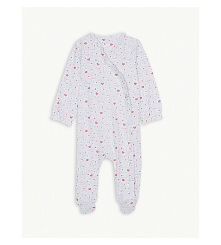 THE LITTLE WHITE COMPANY Star and heart print cotton sleepsuit 0-24 months (Multi