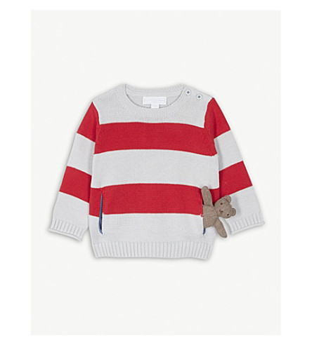 THE LITTLE WHITE COMPANY Striped teddy bear cotton jumper 0-24 months (Multi
