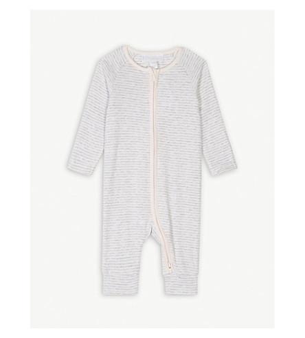 THE LITTLE WHITE COMPANY Stripe zipped cotton bodysuit 0-24 months (Pink/grey