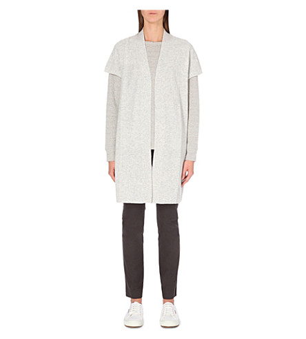 THE WHITE COMPANY Longline wool cardigan (Pale+grey+marl