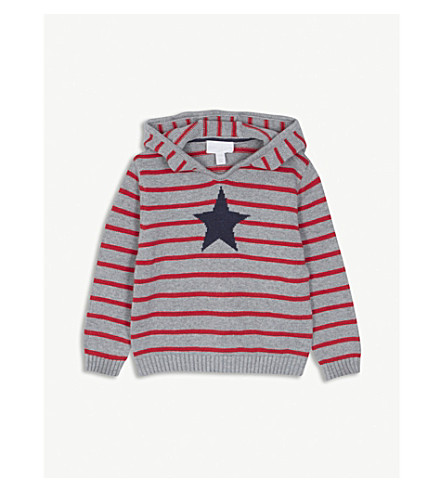 THE LITTLE WHITE COMPANY Star print striped knitted hoody 1-6 years (Multi