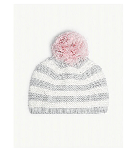 THE LITTLE WHITE COMPANY Sparkle striped knitted hat (Multi