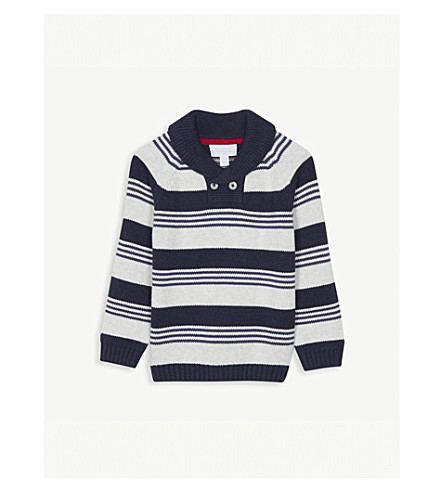THE LITTLE WHITE COMPANY Striped shawl-neck cotton jumper 1-6 years (Blue