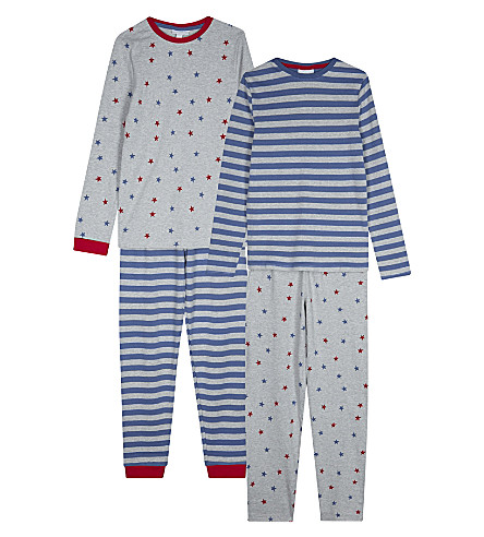 THE LITTLE WHITE COMPANY Printed cotton pyjamas pack of two pairs 7-12 years (Multi