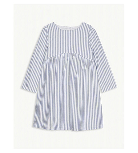 THE LITTLE WHITE COMPANY Striped woven long-sleeved cotton dress 1-6 years (Blue