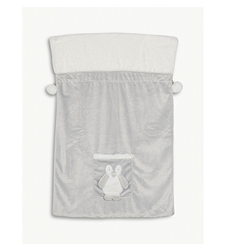 THE LITTLE WHITE COMPANY Snowy penguin present sack (Grey
